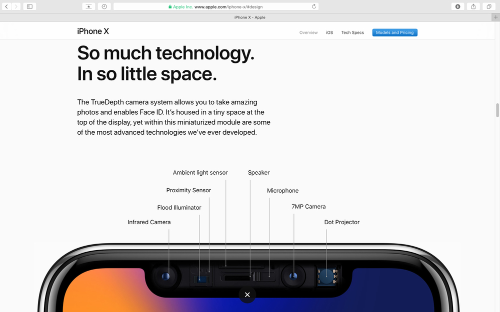 Apple Computers website on Safari Browser showcasing latest Apple products - showcasing latest iPhone X 10 and true depth camera