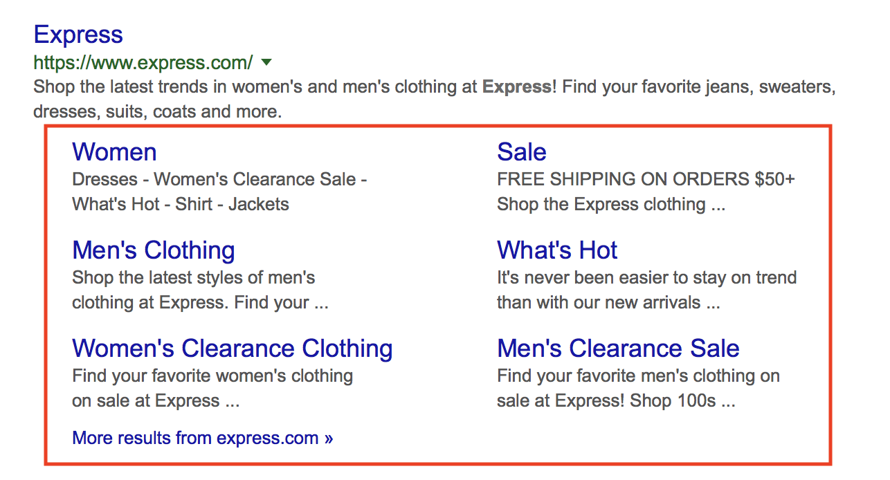 "Google Search Results for ""Express"" highlighting sitselinks below the retailers results."